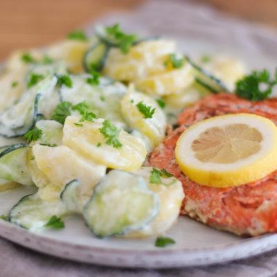 Kartoffelsalat mit Gurke: cremig & frisch (ohne Mayonnaise)