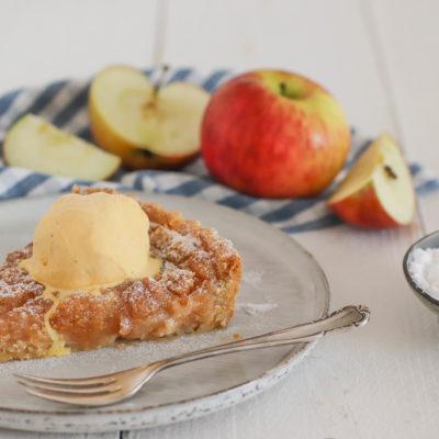 Apfelmus-Crumble-Tarte – Apfelkuchen mit Knusperboden und Streuseln
