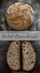 Dinkel-Bauernkruste als Brotlaib und in Scheiben geschnitten.
