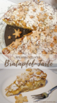 Bratapfel-Tarte auf einem Teller mit Puderzucker