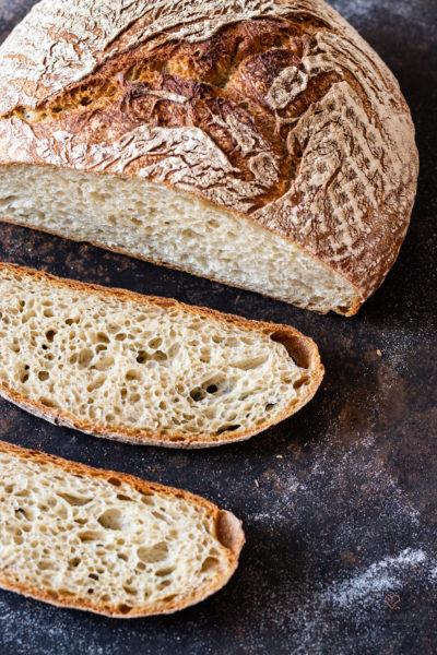 No knead Bread aufgeschnitten