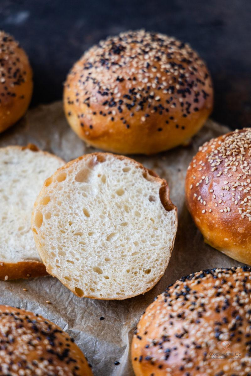 Krume Olivenöl Brioche Burger Buns