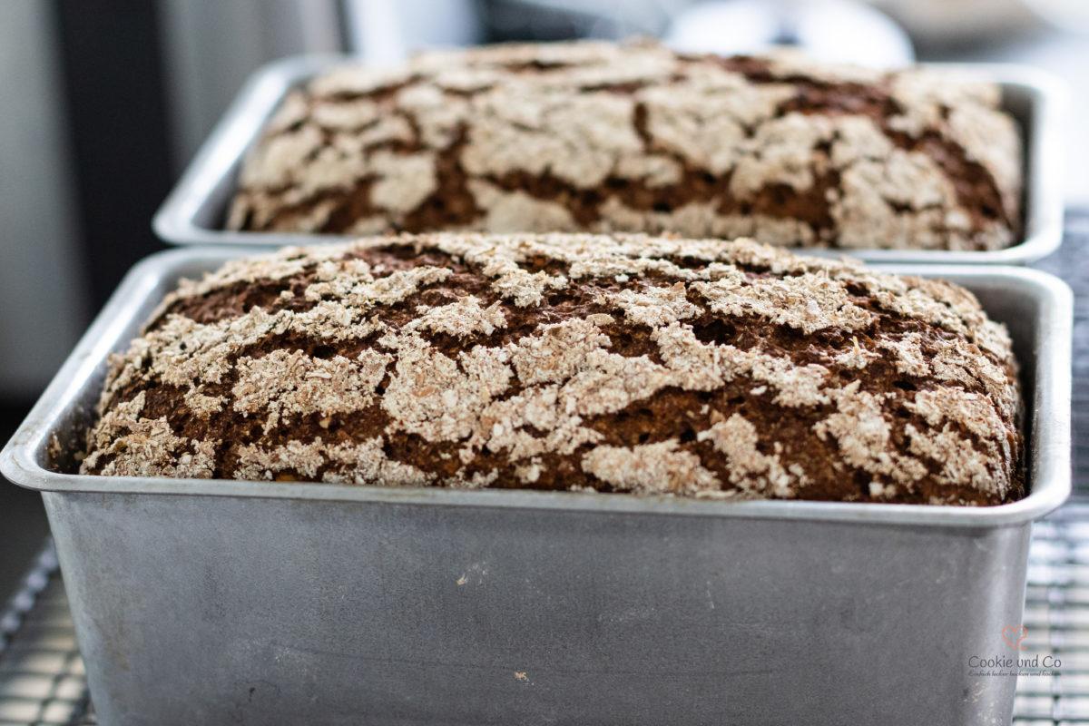 Brot aus Roggenschrot nach dem Backen in einer Kastenform