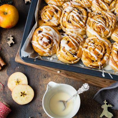 Bratapfel-Zimtschnecken | Baked Apple Cinnamon Rolls