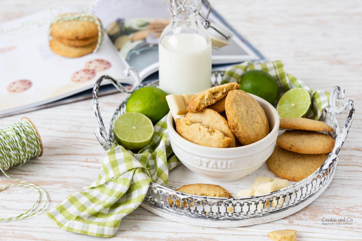 Cookies mit Limette und weißer Schokolade