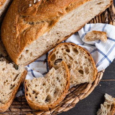 Einfaches Weizenbrot (ohne Sauerteig)
